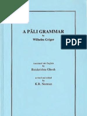 parhaiten rakastettu Viimeisin lähemmäs A Pali Grammar - Wilhelm Geiger OCR | Pali | Sanskrit