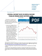 FEDERAL INCOME TAXES ON MIDDLE-INCOME FAMILIES REMAIN NEAR HISTORIC LOWS