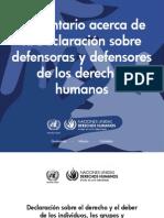 Comentario acerca de la Declaración sobre defensoras y defensores de derechos humanos