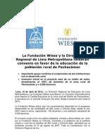 La Fundación Wiese y la Dirección Regional de Lima Metropolitana celebran convenio en favor de la educación de la población rural de Pachacámac