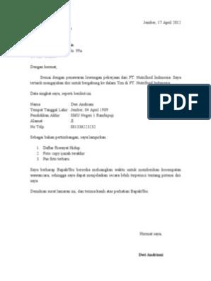 Contoh Surat Lamaran Kerja Pt Nutrifood Contoh Lif Co Id