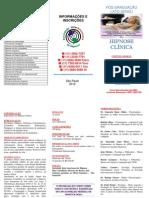 Folder Triplo Pós Graduação Hipnose Clínica