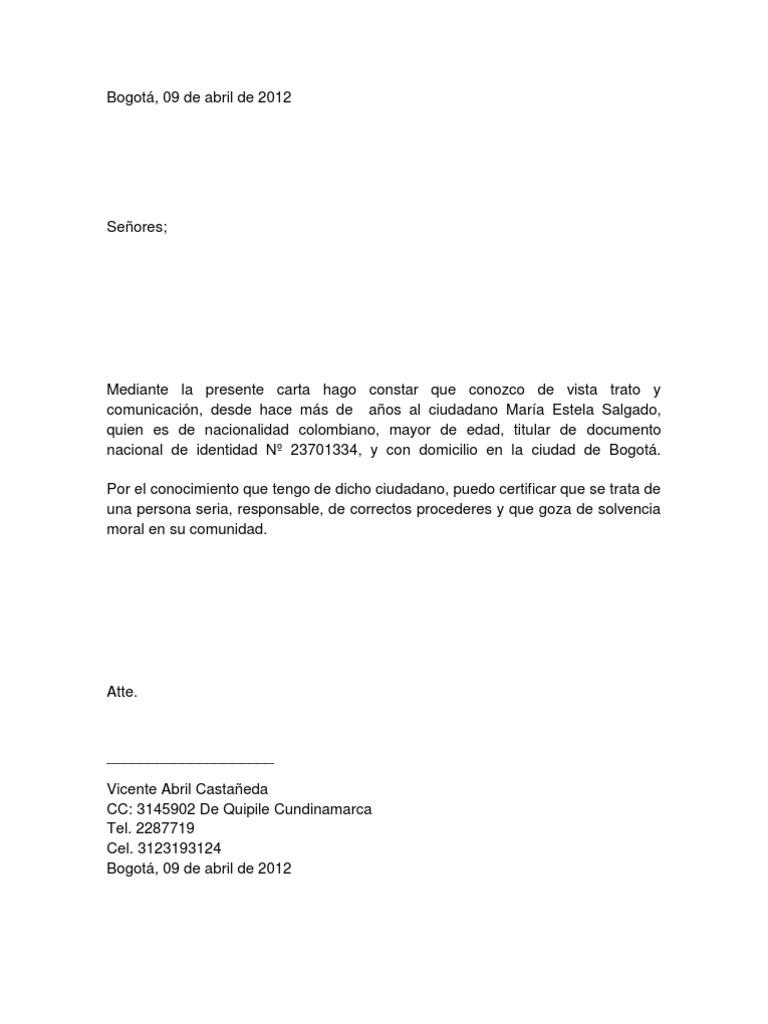 carta de referencias personal
