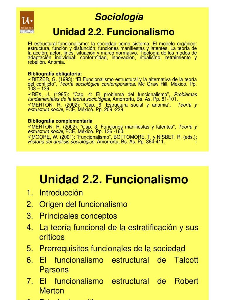 Unidad 2 2 Funcionalismo Estratificación Social Sociedad