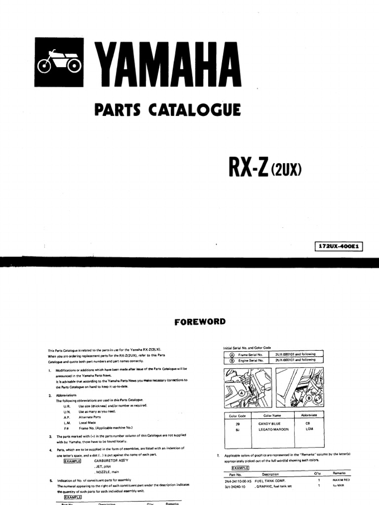 19871006 yamaha rxz 5speed owner manual rh scribd com yamaha lagenda 110 wiring diagram Yamaha Outboard Wiring Diagram