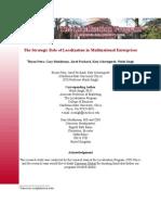 Strategic Role of Localization in Multi National Enterprises