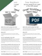 Great Brookland Yard Sale 2012 Recruitment Flyer