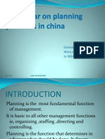 A Seminar on Planning and Practices in China