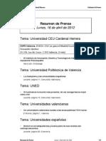 Resumen prensa CEU-UCH 16-04-2012