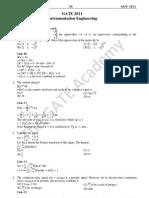 Instrumentation Engineering- GATE 2011 Explanations