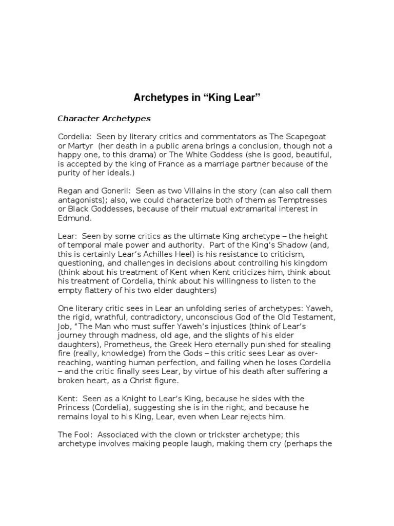 archetypes in king lear king lear jester