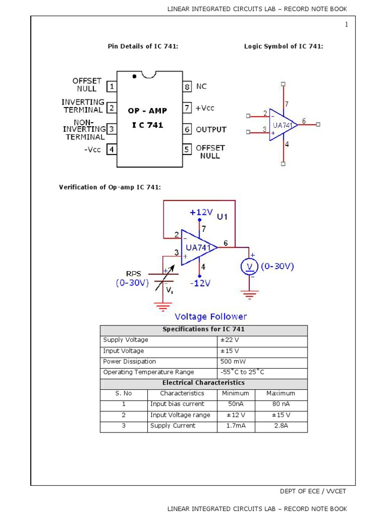 Lic Lab Manual Operational Amplifier Wide Range 555 Vco Circuit Schematic