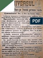 Ziarul Universul Ed. Speciala, Miercuri, 25 Iunie 1941