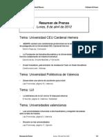 Resumen prensa CEU-UCH 09-04-2012