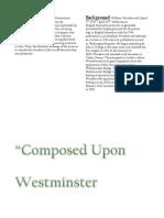 Composed Upon Westminster Bridge - William Wordsworth