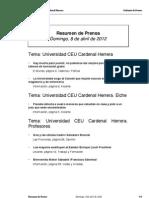 Resumen prensa CEU-UCH 08-04-2012