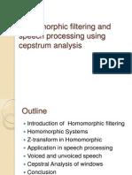 Homomorphic Filtering and Speech Processing Using Cepstrum Analysis