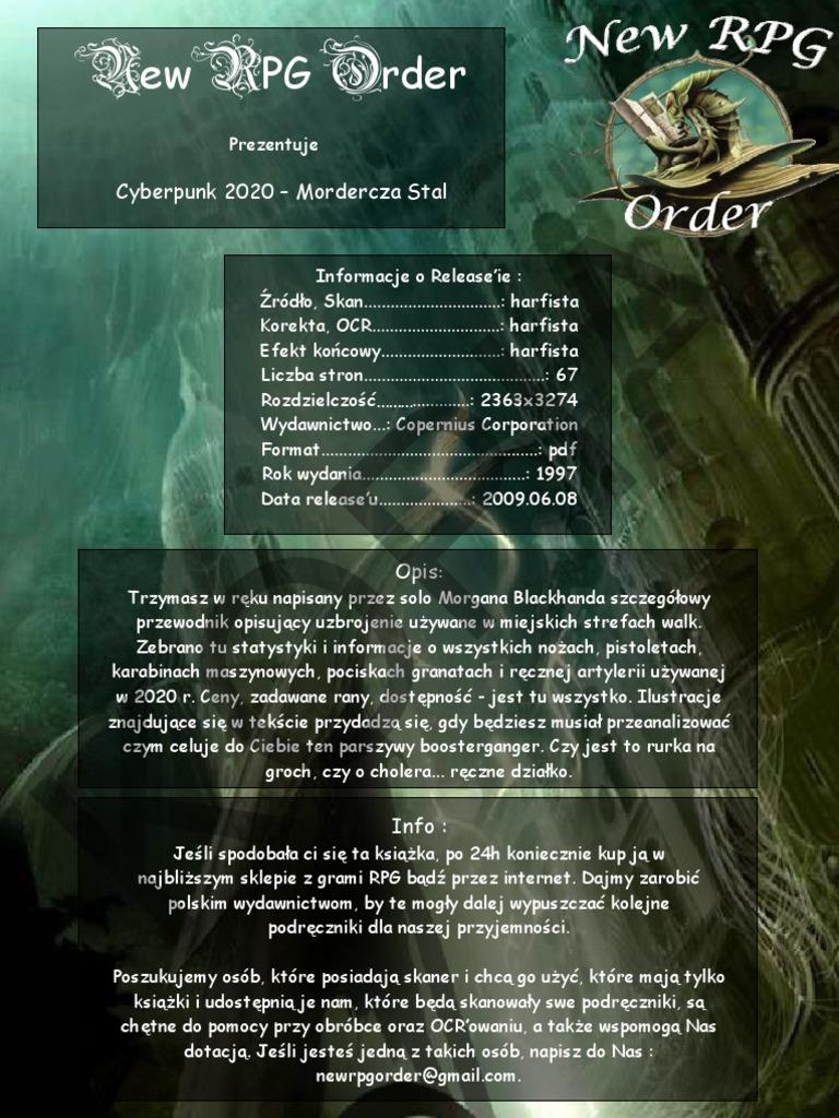 e3c3181f9befac Cyberpunk 2020 - Mordercza Stal (OCR)