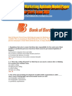 Bank of Baroda Marketing Aptitude Model Paper for Clerk Exam 2011 - TheOnlineGK