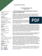 Colorado River Energy Distributors Assn (CREDA) Chu Memo Response