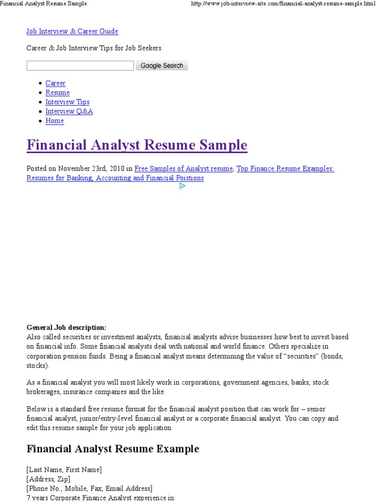 Financial Analyst Resume Sample Financial Analyst Resume