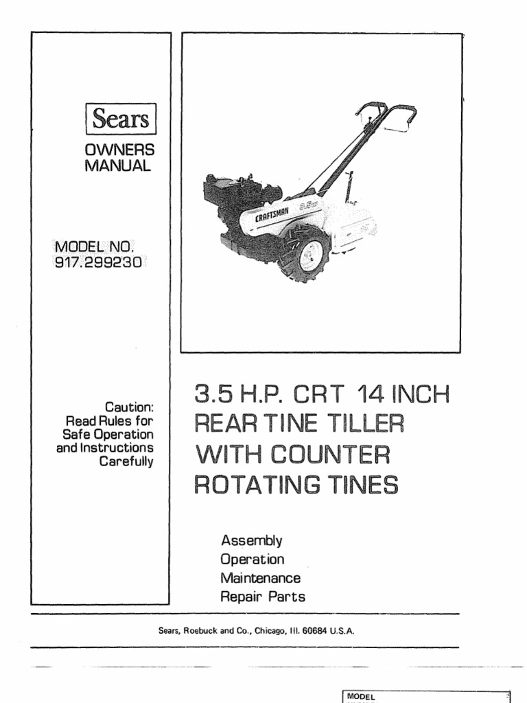 craftsman rear tine tiller 65 hp 17 manual