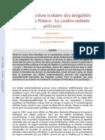 La Reproduction Scolaire Des Inégalités Sociales En France - Le Cas Des Enfants Précoces