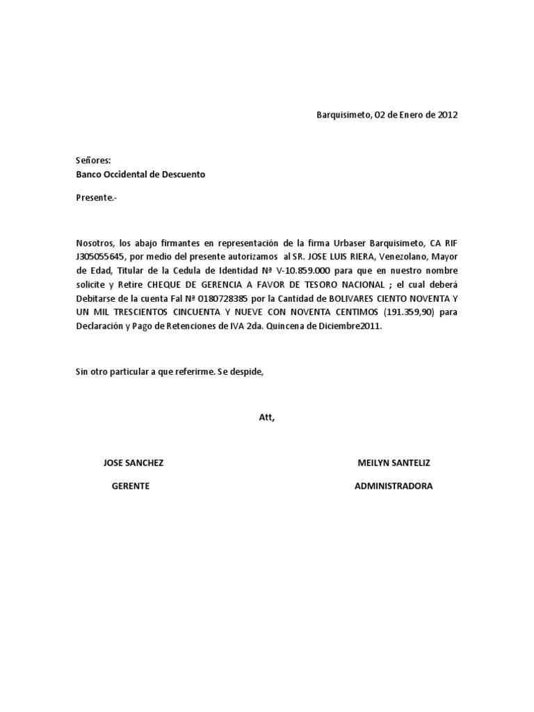Carta de autorizacion cheque gcia for Banco de venezuela solicitud de chequera