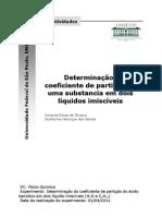 Determinação do Coeficiente de Partição de uma Substancia em dois Líquidos Imiscíveis
