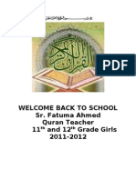 Al-Huda Welcome Letter 2011-2012_11th and 12th Grade Girls