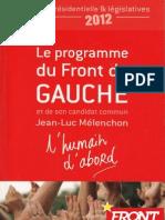 L'humain d'abord - Programa del Front du Gauche y Jean-Luc Mélenchon