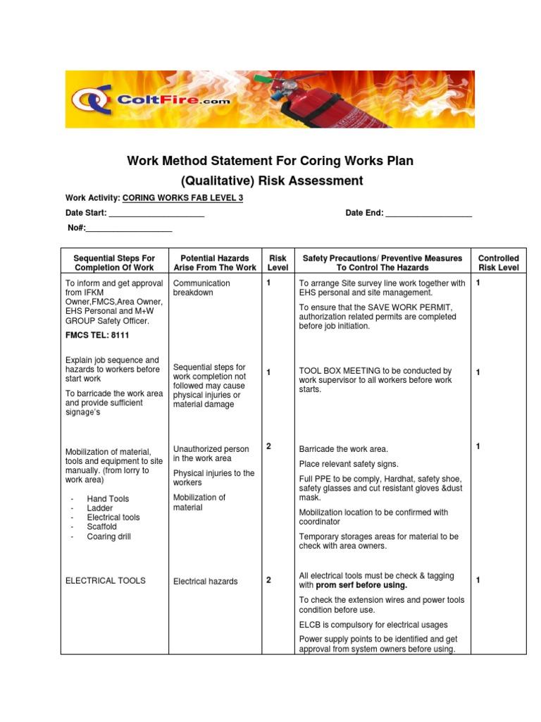 Work method statement for coring works a risk for Gardening risk assessment