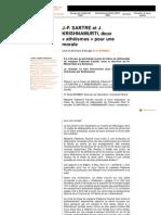 J-P. SARTRE et J. KRISHNAMURTI, deux « athéismes » pour une morale, par René Barbier