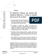El Gobierno reduce los costes del sistema eléctrico y limita la subida de la luz al 7% en abril(Es)/ The Government reduce costs of the electric system and limit the increase of the light to 7% in April(Spanish)/ Gobernuak sistema elektrikoaren kostuak murriztu eta argiaren igoera mugatuko du %7an Apirilean(Es)