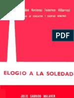 """De """"Elogio a la soledad"""" por Julio Garrido Malaver"""