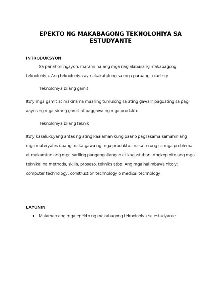 thesis tungkol sa epekto ng makabagong teknolohiya