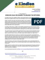04.18.12 - Kindlon Calls on Soares to Release Tax Returns