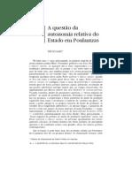 SAES, Décio. A questão da autonomia relativa do Estado em Poulantzas