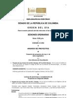 Plenaria Senado - Orden del día - 18 Abril 2012