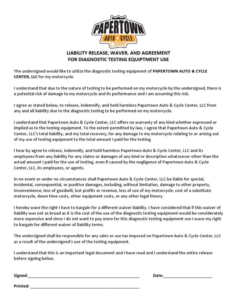 Dyno Liability Release  Legal Liability  Indemnity