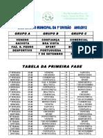 tabela 1ª DIVISÃO 2012