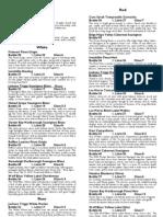 2012 wine menu