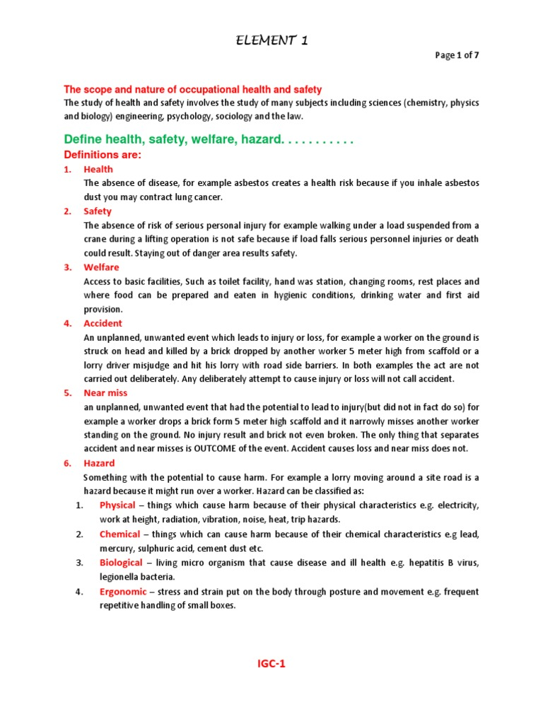 Nebosh IGC Element 1 Foundations In Health And Safety Notes