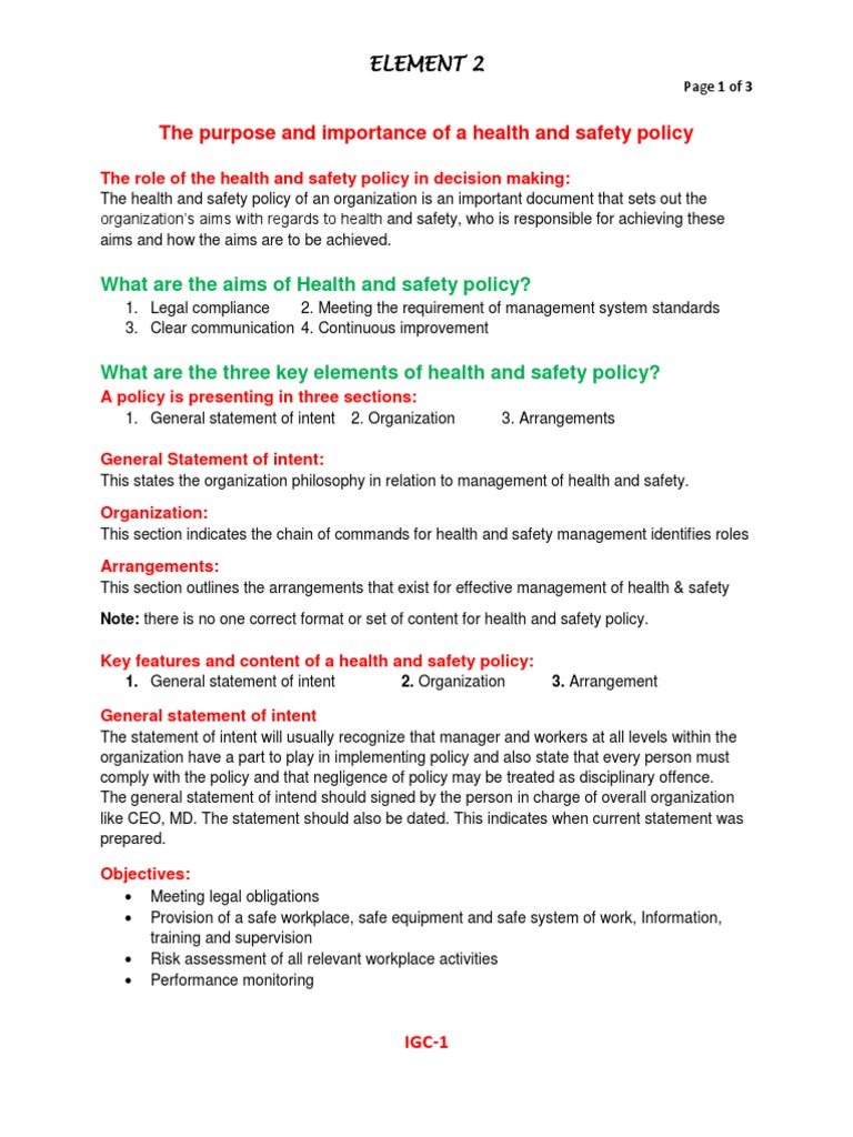 nebosh igc element 2 policy notes occupational safety and health safety