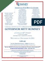 Breakfast Reception for Mitt Romney