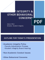 Student Integrity and Other Behavioural Concerns
