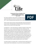 Ohio Right to Life HB 171 Testimony