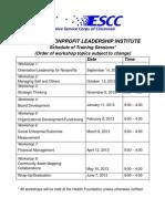 NLI Schedule 2012-2013