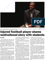 Injured Football Player Shares Motivational Story With Students - Tyler Rogoff