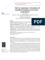 A Model of Customer Retention of Dissatisfied Business Services Customers